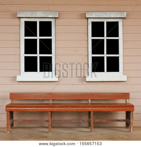 old wood white window with black screen on the wall with long chair or chesterfield vintage cowboy house style scene for background included clipping path for black screen on the window
