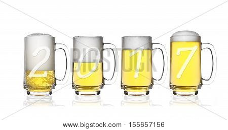 Happy New Year 2017 and Merry Christmas on frosty lager light beer and white bubbles in clear glass with handle and steam for winter drink or celebration isolated on white background