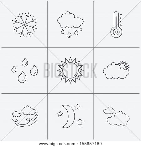 Weather, sun and rain icons. Moon night, clouds and water drops linear signs. Wind, snowflakes and thermometer flat line icons. Linear icons on white background. Vector