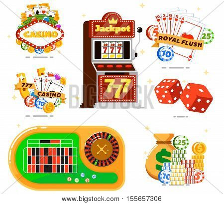 Casino sign with poker club isolated vector illustration. Slot machine, dice, playing cards, poker gambling chips, money, roulette table. Casino chips and casino icon jackpot gambler symbol. Casino signboard icon. For online casino game webstie.