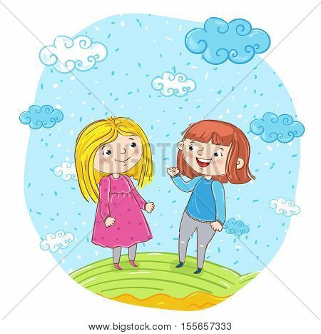 Funny girlfriends laughing friendship kids vector illustration. Cartoon girlfriends having fun, smiling and girlfriends chatting at park. Kids friendship concept. Girlfriend laughing cartoon character. Cute cartoon girlfriends, Summer time. Cute girls.