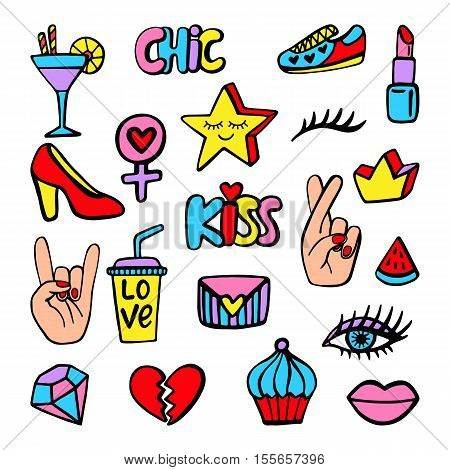 Vector fashion patch badges set with shoe, heart, star, crown, crossed fingers, eye, lipstick, cocktail, isolated on white. Comic stickers, pins, patches doodle in cartoon pop art 80s-90s style
