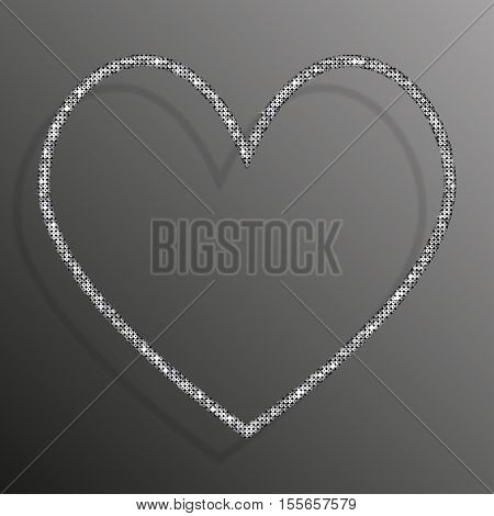 Frame made of Silver sequins in the form heart. Mosaic sequins glitter sparkle stars.