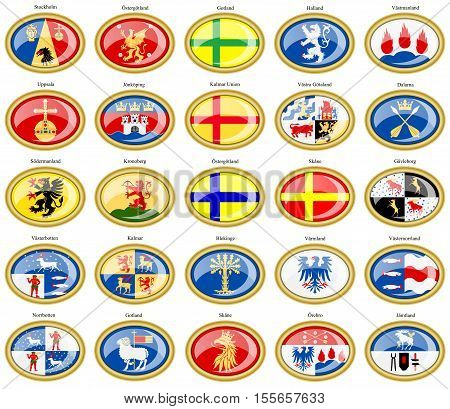 Set Of Icons. Counties Of Sweden Flags.
