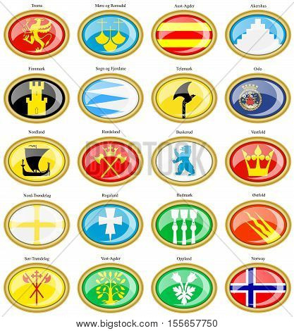 Set Of Icons. Counties Of Norway Flags.