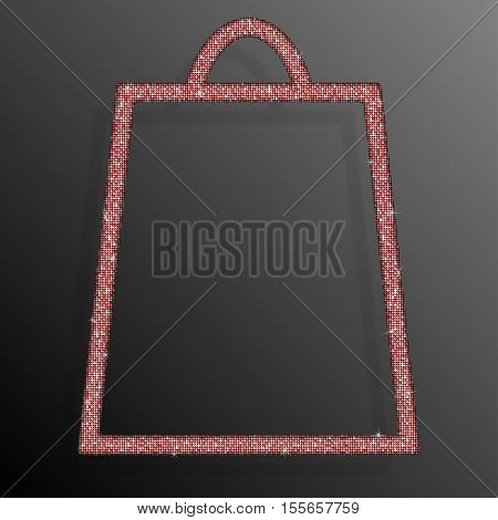 Frame made of Red sequins in the form shopping bag. Mosaic, sequins glitter sparkle stars. Sale, Offer.