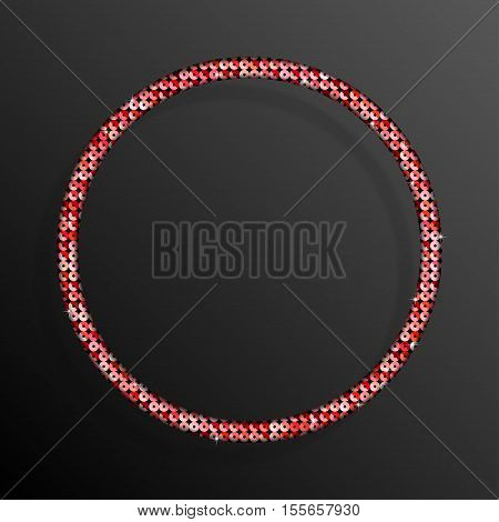 Frame made of Red sequins in the form circle. Mosaic sequins glitter sparkle stars.
