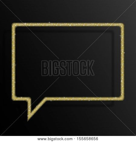 Frame made of Gold sequins in the form speech bubble. Mosaic sequins glitter sparkle stars.