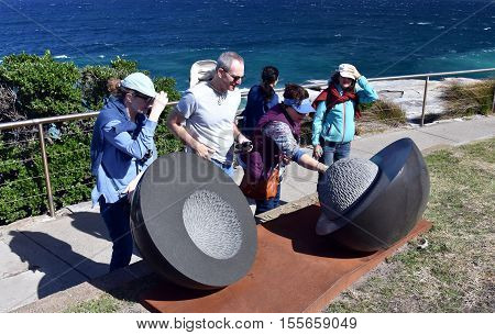 Sydney Australia - Oct 23 2016. Senden Blackwood: Milieu. Sculpture by the Sea along the Bondi to Coogee coastal walk is the world's largest free to the public sculpture exhibitions.