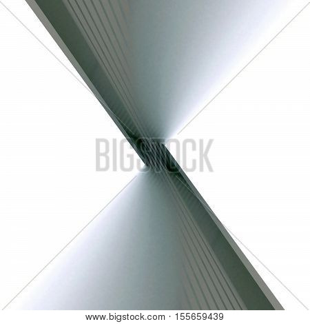 Black and white abstract architectural background. The three-dimensional gradient shape converge at a point.