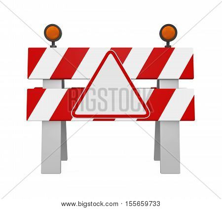 Under Construction Barrier isolated on white background. 3D render