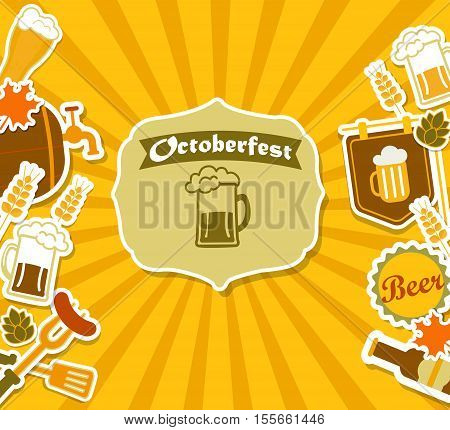 Vintage Beer Brewery Poster for octoberfest. Vector illustration.
