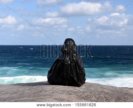 Sydney Australia - Oct 23 2016. Zheng Yuan Lu: Chronic Series. Sculpture by the Sea along the Bondi to Coogee coastal walk is the world's largest free to the public sculpture exhibitions.