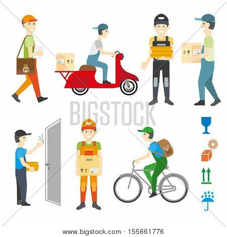 Courier and delivery service set. Worker man or postman with box, package or parcel. Flat illustration isolated on white. Vector elements for design.