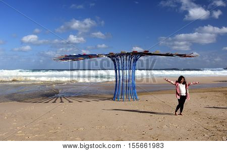 Sydney Australia - Oct 23 2016. Rebecca Rose: In Awe. Sculpture by the Sea along the Bondi to Coogee coastal walk is the world's largest free to the public sculpture exhibitions.
