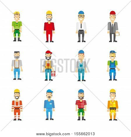 Professional workman set: builder and repairman, engineer and worker characters. Vector icons work man. Cartoon illustration isolated on white.