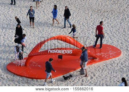 Sydney Australia - Oct 23 2016. Big red havaianas thongs on Tamarama beach. Sculpture by the Sea is one of the largest free to the public sculpture exhibitions.