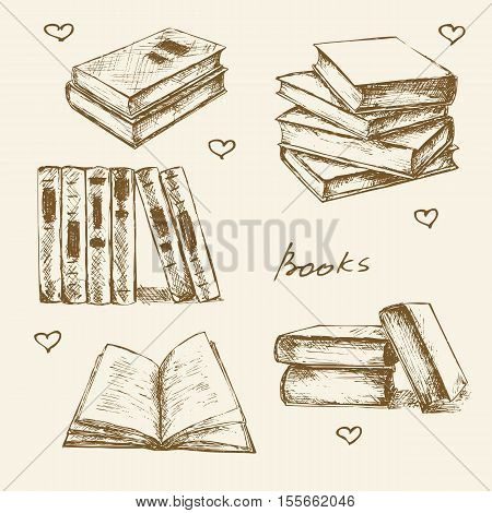 Books set hand drawn vector illustration sketch.