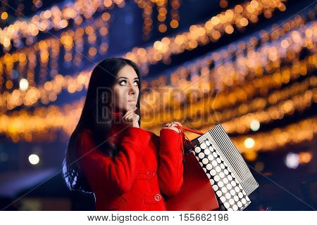 Christmas Woman Thinking What Presents to Buy