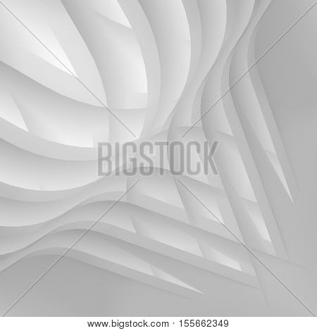 3d illustration. Abstract architectural white architecture element. Curve shape disappearing into the background.