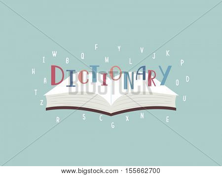 Typography Illustration Featuring an Open Book with the Word Dictionary Sitting on Top