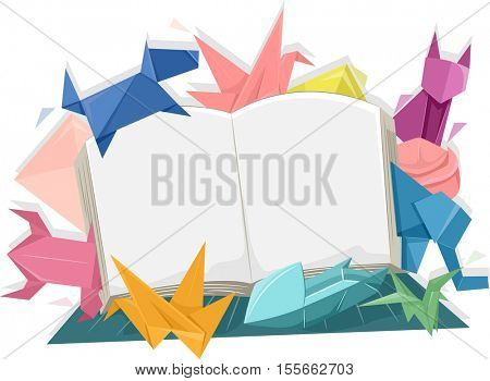 Illustration of an Open Book Surrounded by Colorful Origami of Animals