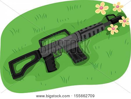 Illustration of an Assault Rifle with its Muzzle Blocked by a Bunch of Flowers