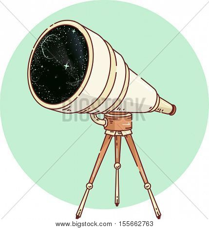 Icon Illustration Featuring a Long Range Telescope Mounted on a Tripod