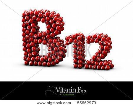 high resolution 3D render of vitamin supplements, Vitamin B12