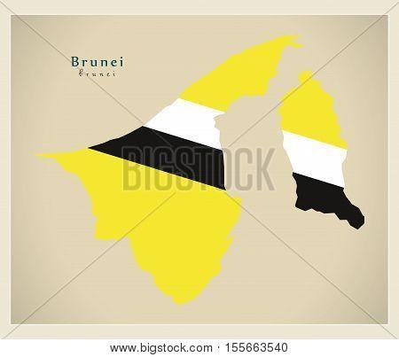 Modern Map - Brunei flag colored BN vector illustration