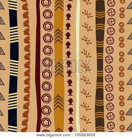 Seamless texture with African motifs. Abstract background in ethnic style