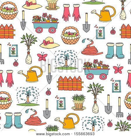 Vector seamless pattern with hand drawn colored symbols of garden. Pattern on the theme of work and spring. Background for use in design, packing, web site, fabric