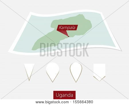 Curved Paper Map Of Uganda With Capital Kampala On Gray Background. Four Different Map Pin Set.