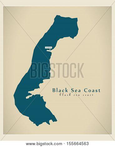 Modern Map - Black Sea Coast BG vector illustration