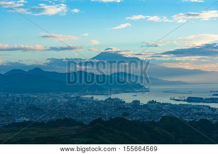 Iconic Mount Fuji On Sunrise With Shizuoka City On Foreground