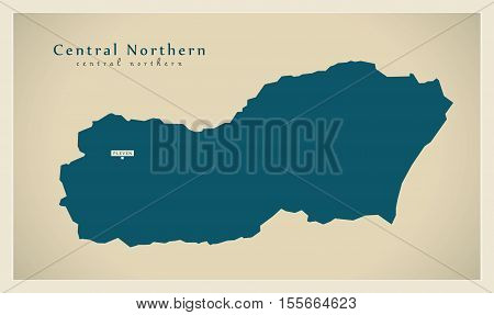 Modern Map - Central Northern BG vector illustration