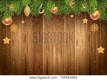 Christmas wooden background golden glitters and decorated fir tree. Vector stock illustration.
