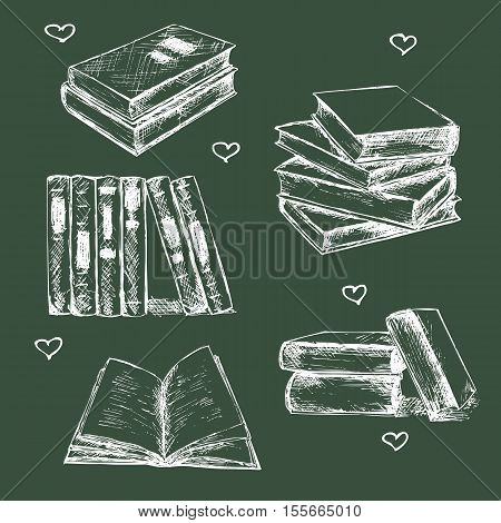 Books set hand drawn vector illustration sketch. Opened and closed books books on the shelf stacked books and single book isolated on dark background.