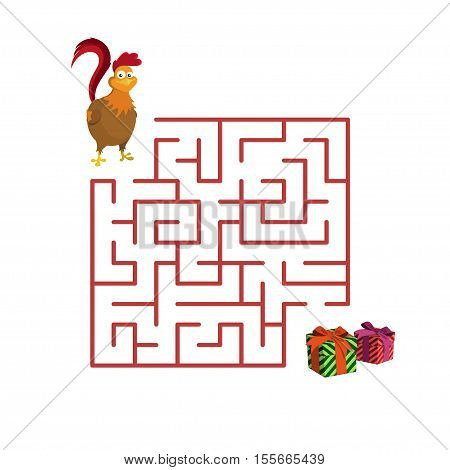 Christmas children's game: rooster in the maze. Help to get out of the labyrinth. Vector illustration