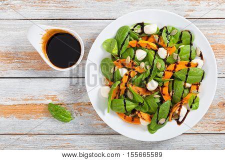 Grilled Pumpkin, Mini Mozzarella And Spinach Salad