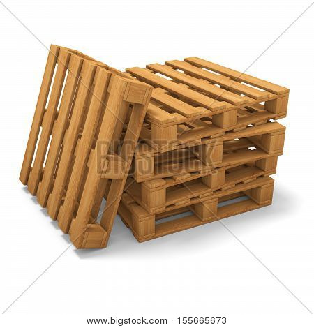 Stack of three wooden pallets. One pallet near. Isolated on white. 3D illustration
