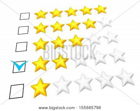 Rating concept. Two stars mark. Isolated on white. 3D illustration
