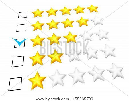 Rating concept. Three stars mark. Isolated on white. 3D illustration