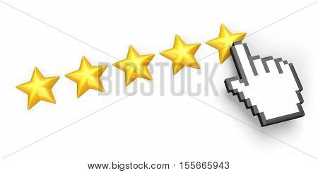 Voting concept. Rating five stars. Hand cursor. Isolated on white. 3D illustration