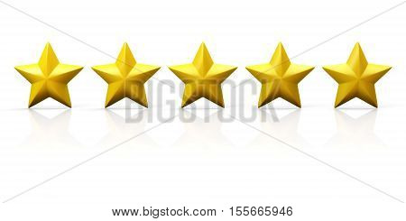 Row of five yellow stars on glossy plane. Isolated on white. 3D illustration