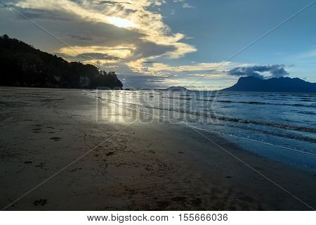 Tropical Beach At Low Tide At Sunset