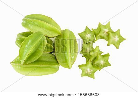 Star fruit or carambola (whole and sliced) on white background