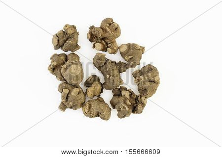 Ganthoda or Long pepper Roots (Piper longum)on a white background