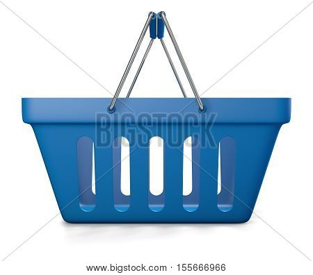 3d illustration of blue shop basket isolated on white