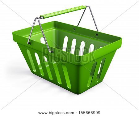 3d illustration of green shop basket isolated on white